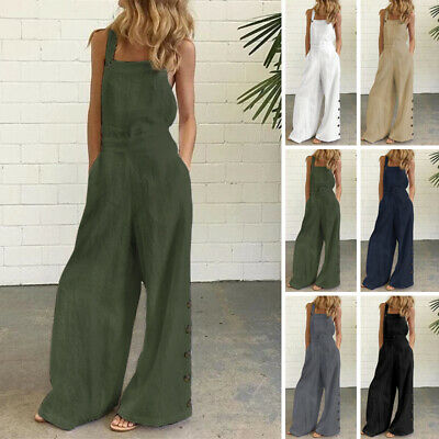 £11.39 • Buy UK Womens Jumpsuit Harem Rompers Wide Leg Overalls Strappy Dungarees Playsuits