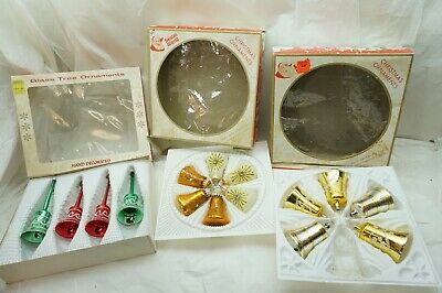 $ CDN38.11 • Buy Vintage Glass Christmas Ornaments Lot Of 13 W Germany Bells Jeweled 3 Boxes