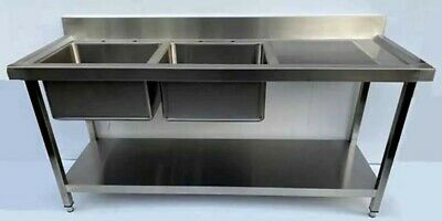 Commercial 1800mm Stainless Steel Double Bowl Sink - Latest Design - New Item • 449£