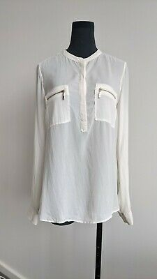 AU35 • Buy Massimo Dutti Womens Off White Silk Long Sleeve Top Blouse US 6 AU 10
