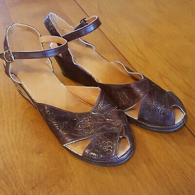 AU83.66 • Buy 1940s Or 50s Vintage Style Tooled Leather Wedge Shoes 9M