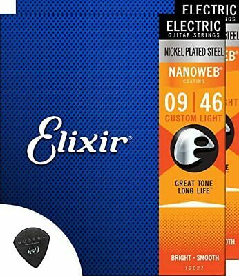 $ CDN90 • Buy Elixir Electric Guitar Strings 2 Set Custom Light Nano Web Coating + Musent Pick