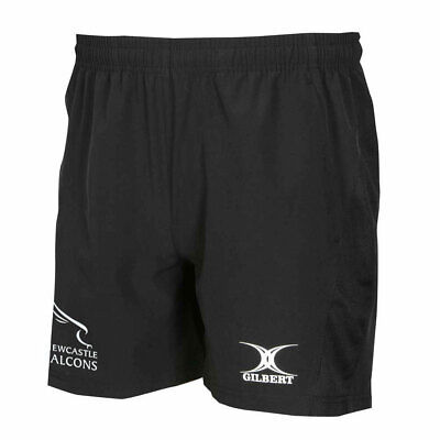 GILBERT Newcastle Falcons Rugby Vapour Gym / Training Shorts [black] • 14.95£