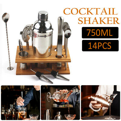 £17.50 • Buy 14-Piece Stainless Steel Cocktail Shaker Set Cocktail Drink Mixing Bartender Kit