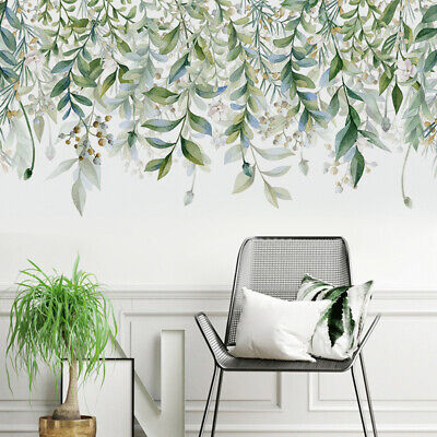 2pcs Tropical Leaves Wall Stickers Green Plant Palm Leaf Decals Home Office Arts • 6.70£