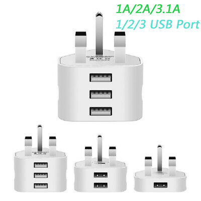 £3.29 • Buy USB Mains Charger Adapter UK 3Pin Wall Plug For Samsung/iPhone/HTC/Tablets/etc
