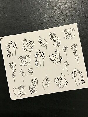 AU2.69 • Buy Nail Art Water Transfer Decals Stickers Black Abstract Face Drawing Slider AU