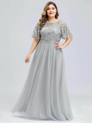 Rrp £59.99 Ever Pretty A-line Grey Embroidery Long Occasion Dress Uk 20 Bnwt • 24.99£