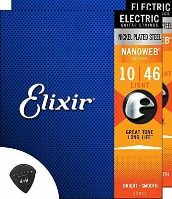 $ CDN70.24 • Buy Elixir Electric Guitar Strings 2 Set Light Nano Web Coating + Musent Pick