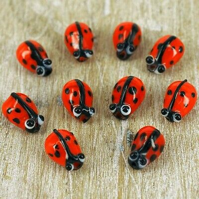 Lady Bird Beads, Lampwork Glass  3D Insects,  Unique Spacers Red  G 16 X 10 Pcs • 2.99£