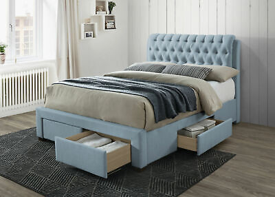 Sovereign Blue 4 Drawer Storage Bed Frame Chesterfield Headboard Various Sizes • 519.99£