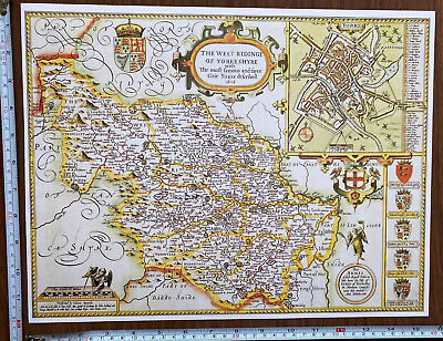 £9.99 • Buy Old Tudor Poster Map West, South Yorkshire: Speed 1600s 15  X 12 Reprint Antique