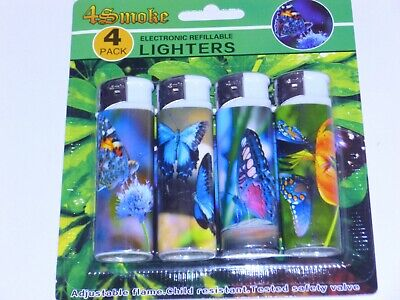 £2.80 • Buy 4 Pack Of Electronic Refillable Lighters Butterfly  Design