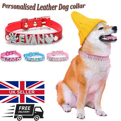 £5.99 • Buy PERSONALISED Leather Dog Cat Pet NAME Collar Crystal Rhinestone With Charms UK