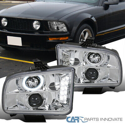 $131.95 • Buy Ford 05-09 Mustang Clear LED DRL Halo Projector Headlights Head Lamps Left+Right