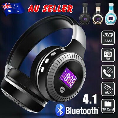 AU27.95 • Buy Bluetooth Headphones LCD Wireless Headset Earphones With Mic Noise Cancelling OZ