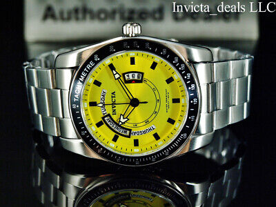 NEW Invicta Men's 45mm Specialty Quartz YELLOW LEMON Dial Silver Tone SS Watch • 43.88£