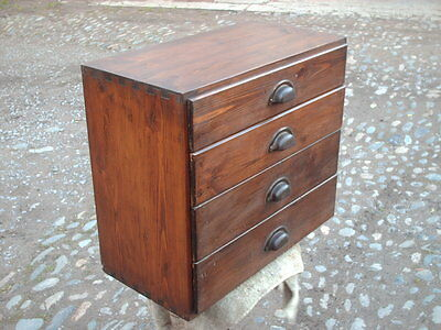Vintage Pine Collectors / Industrial 4 Drawer Chest / Cabinet • 169£