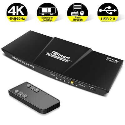 AU289.51 • Buy TESmart  HDMI.DP KVM Switch  2 Port Output 3840*2160@60Hz