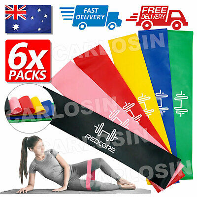 AU8.95 • Buy 6Pcs Resistance Loop Bands Mini Band Crossfit Strength Fitness Exercise GYM