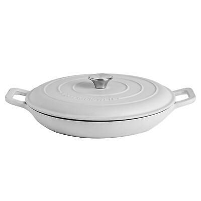£26.99 • Buy Cast Iron Shallow Casserole Dish With Lid Enameled Hob To Oven 30cm Pebble