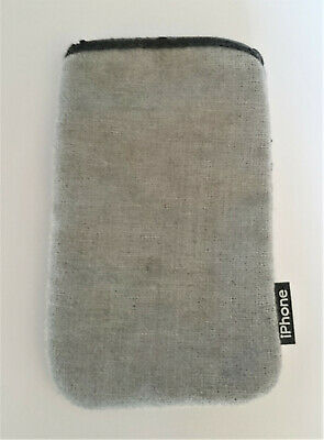 £2.95 • Buy Grey Cloth Pouch IPhone Faux Leather Trim 7x12cm Phone Mobile Cell Case Cover