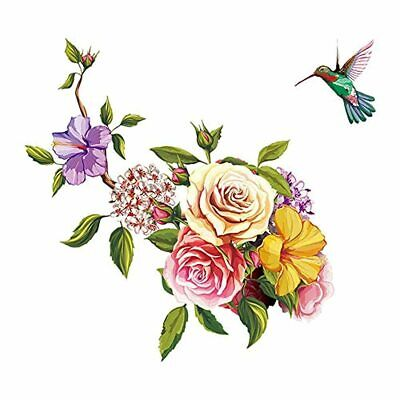 £15.44 • Buy Ufengke Flowers Wall Stickers Hummingbird Removable Wall Art Decals Wall Decor F