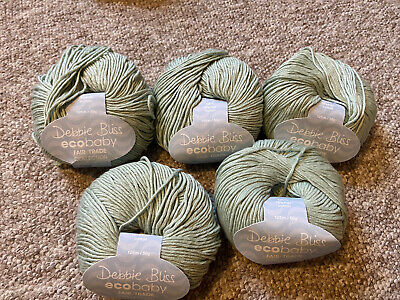 Debbie Bliss Ecobaby Wool Green 5x50g Balls Colour 14020 Same Dyelot • 20£