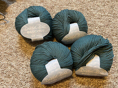 Debbie Bliss Ecobaby Wool Green 4x50g Balls Colour 14034 Same Dyelot • 15£