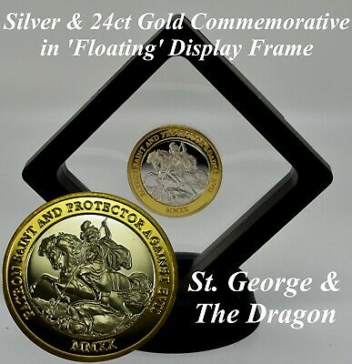 £12.99 • Buy ST. GEORGE & THE DRAGON Silver & Gold Commemorative In Coin Display Case/Frame
