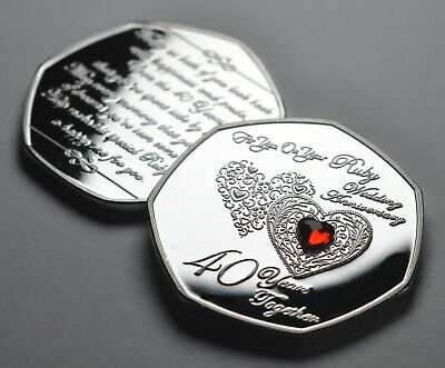 £8.99 • Buy 40th WEDDING ANNIVERSARY Silver Commemorative With Ruby Gemstone Gift/Present