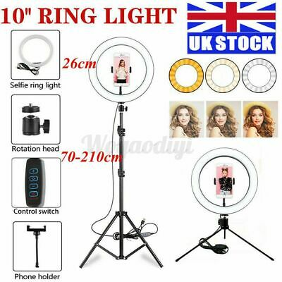 Selfie 10'' LED Ring Light Dimmable Lighting Kit Phone Tripod Lamp Youtube Live • 25.99£