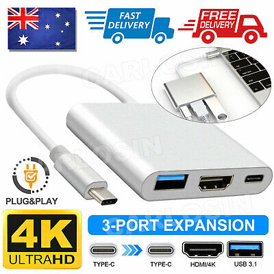 AU13.80 • Buy Type-C 3.1 To 4K HDMI +VGA Port USB-C HUB Adapter Converter For MacBook  Pro