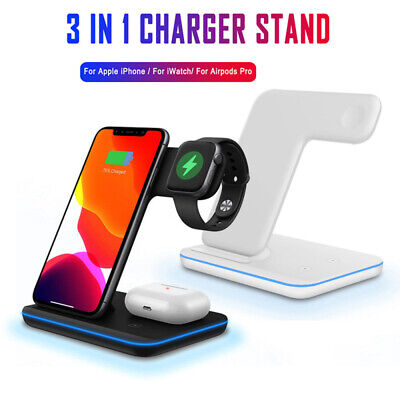 AU42.28 • Buy 3 In1 15W Wireless Charger Stand Qi Fast Charging Dock For Airpods IPhone Watch!