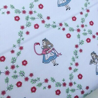 Alice In Wonderland Disney White Lewis Carroll 100% Cotton Fabric X HALF METRE • 6.25£