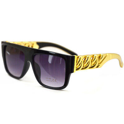 Celebrity Inspired Gold Chain Link Arm Hiphop Rapper Party Sunglasses UK 07 • 12£