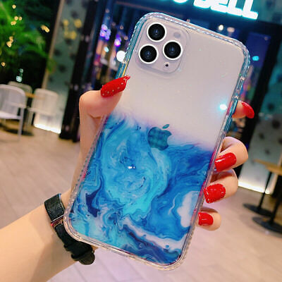 AU9.98 • Buy For IPhone12/Pro/Max/Xr/XS/11 Clear Marble Shockproof Case Glitter Bling Cover