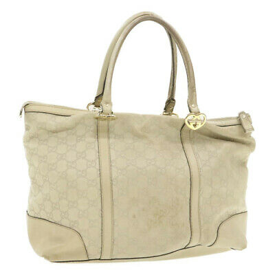 AU274.52 • Buy GUCCI Guccissima GG Tote Bag White Leather Auth Ar3289