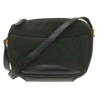AU188.39 • Buy GUCCI GG Canvas Shoulder Bag Black Powder Rd1355
