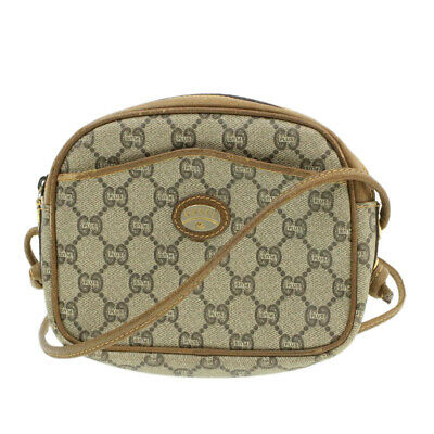 AU176.61 • Buy GUCCI GG Canvas Shoulder Bag Beige PVC Leather Auth 16074