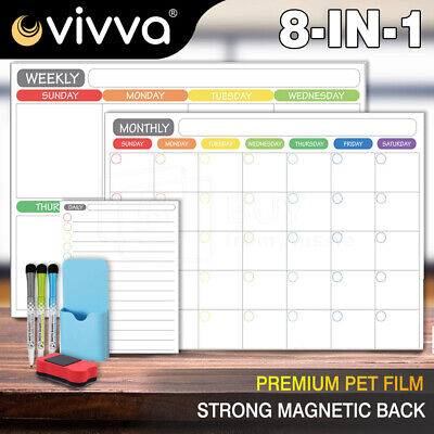 AU26.26 • Buy A3 Magnetic Fridge Whiteboard Planner Dry Erase Calendar Monthly Weekly Daily