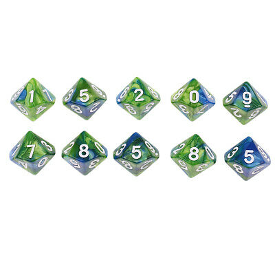 AU9.63 • Buy 10pcs Polyhedral Dice D10 For   DND D&D Games Green Blue
