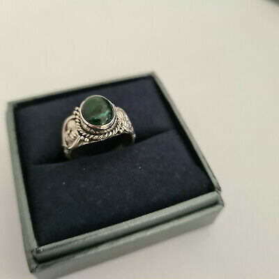 Beautiful Malachite Matrix Solitaire Ring Set In Handcrafted Sterling Silver • 10.99£