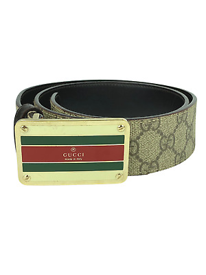 AU500 • Buy Gucci - Beige Gg Supreme Canvas Web Buckle Belt - Sz 32 / 82 Cm