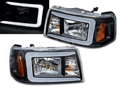 $219 • Buy Pair Black 1pc Style Headlights W/ LED C-Bar For 2001-2011 Ford Ranger