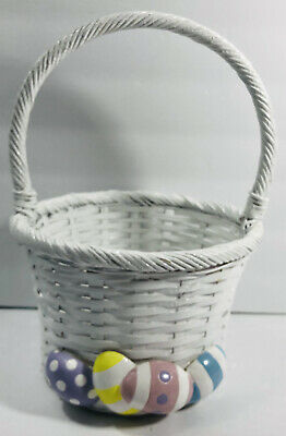 £3.06 • Buy Easter White Round Wicker Basket With Handle Decorated Easter Eggs On Front