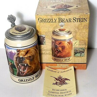$ CDN33.84 • Buy 1993 Budweiser Endangered Species Collectors Series Grizzly Bear Lidded Stein