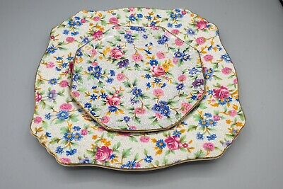 $ CDN56.24 • Buy Royal Winton Old Cottage Chintz Octagonal Bread And Square Salad Plate FREE SHIP