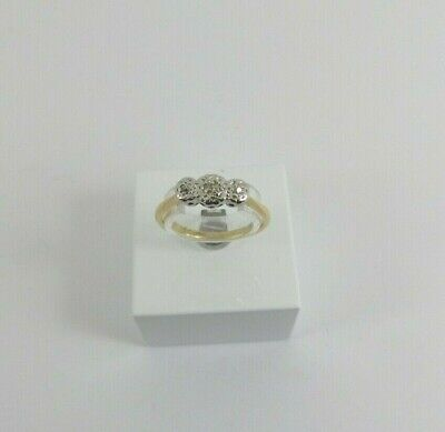 18ct Gold Diamond Ring Three Stone Vintage Size K 1/2 With Gift Box • 148£