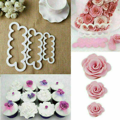 3Pcs/Set Rose Petal Flower Cake Cutter Mold DIY 3D Cookie Ice Mould Kitchen Tool • 2.69£